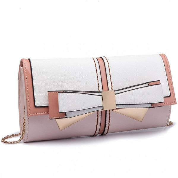 Z-BOW CLUTCH CHAIN SHOULDER BAG PINK-SOLD-SOLD-Daring Diva Australia