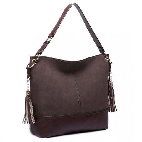 LEATHER TASSEL SLOUCH HOBO BAG COFFEE-Handbags-ML-Daring Diva Australia
