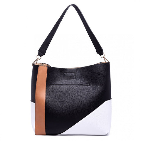 SLOUCHY LEATHER SHOULDER BAG BLACK-Handbags-ML-Daring Diva Australia