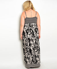 Z-CN251129 - IVORY BLACK PLUS SIZE DRESS-SOLD-SOLD-Daring Diva Australia