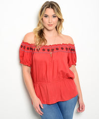 Z-CN254203-Rust-Plus-Size-Top-SOLD-SOLD-Daring Diva Australia
