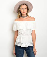 Z-IVORY OFF SHOULDER TOP-SOLD-SOLD-Daring Diva Australia