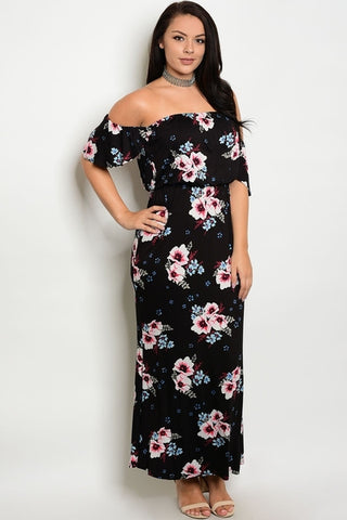 Sandra Off Shoulder Maxi Dress Black-Dresses-WFSPN-Daring Diva Australia