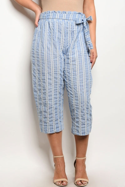 Z-Yvonne Striped Capri Pants Blue-SOLD-SOLD-Daring Diva Australia