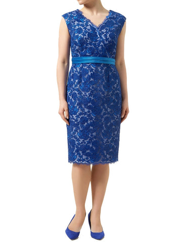 Jacques Vert Crossover V-Neck Lace Dress-Clearance-FCW-8-Daring Diva Australia