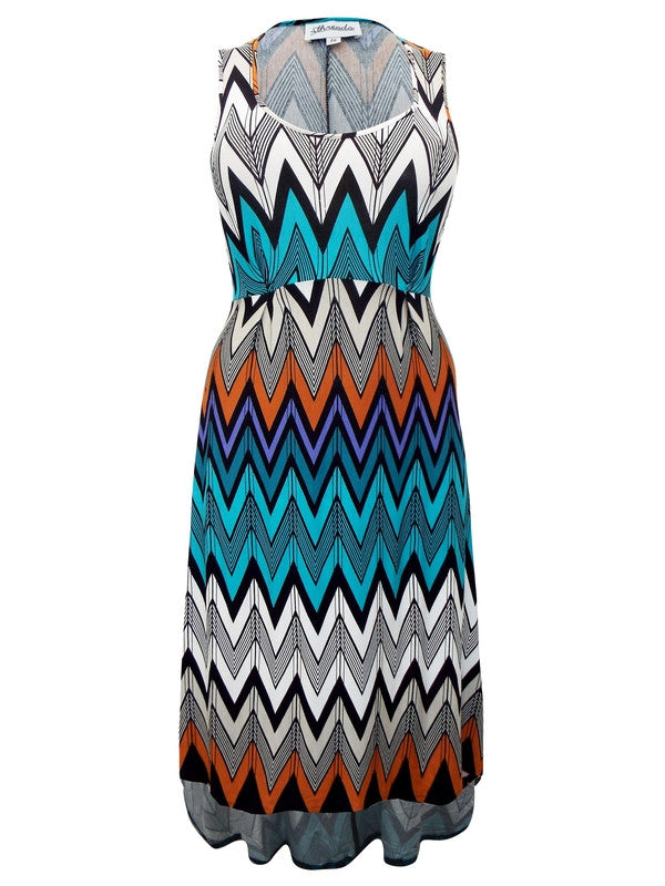 Sleeveless Chevron Print Jersey Dress-SOLD-SOLD-Daring Diva Australia