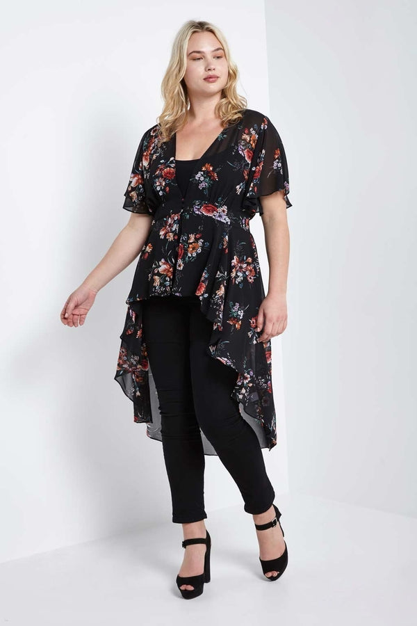 Karina High Low Wrap Duster-S-Outerwear-Stockists-Daring Diva Australia