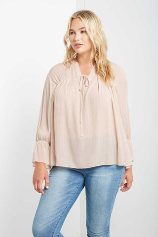 Georgina Metallic Striped Top Beige-S-Tops-Stockists-Daring Diva Australia