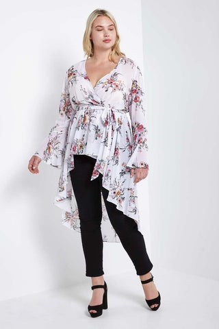 Jeanine High Low Wrap Duster-S-Outerwear-Stockists-Daring Diva Australia