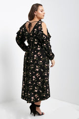 PRE-ORDER Caitlyn Cold Shoulder Wrap Dress-S-Dresses-Stockists-Daring Diva Australia
