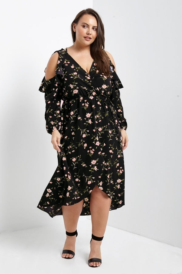 Caitlyn Cold Shoulder Wrap Dress-S-Dresses-Stockists-Daring Diva Australia