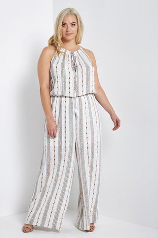 Helena Striped Jumpsuit White-Jumpsuits-MT-Daring Diva Australia