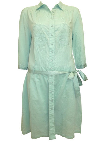 Embroidered Shirt Dress with Belt-Clearance-FCW-8-Daring Diva Australia