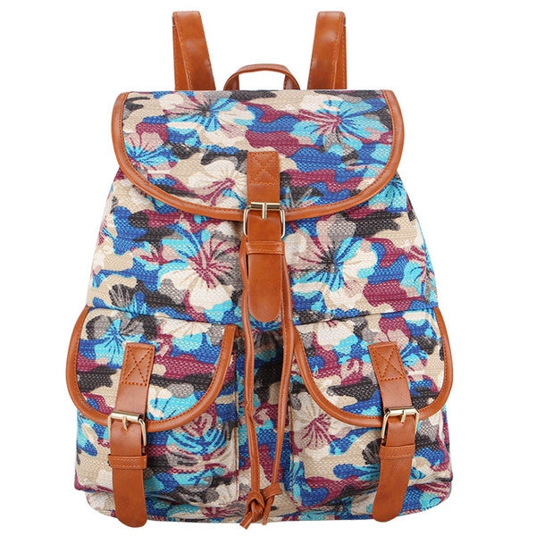 Z-Wild Flowers Canvas Backpack Purple-SOLD-SOLD-Daring Diva Australia
