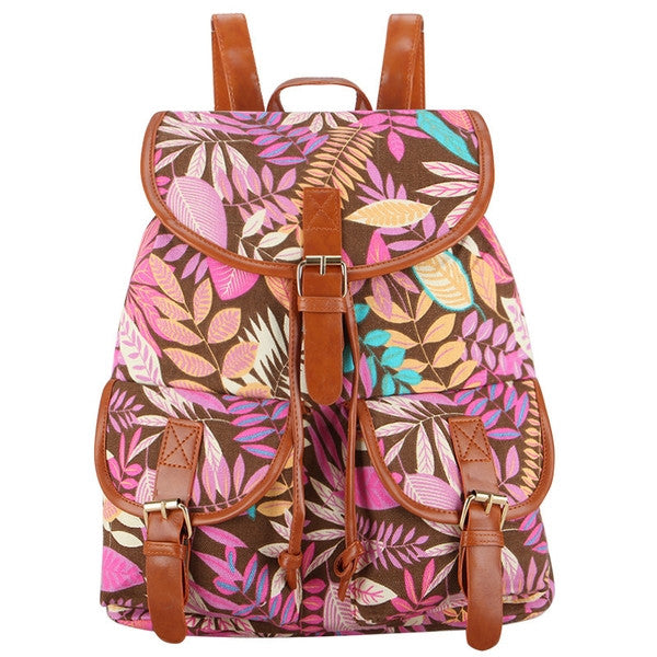 Autumn Rush Canvas Backpack Pink-SOLD-SOLD-Daring Diva Australia