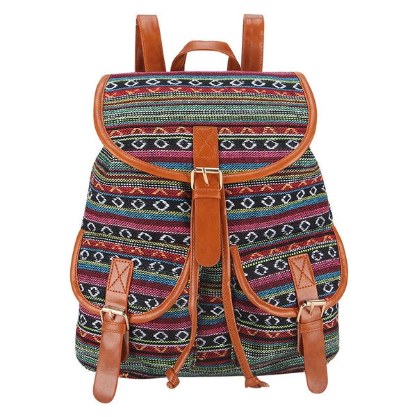 Canvas Weave Print Backpack Green-SOLD-SOLD-Daring Diva Australia