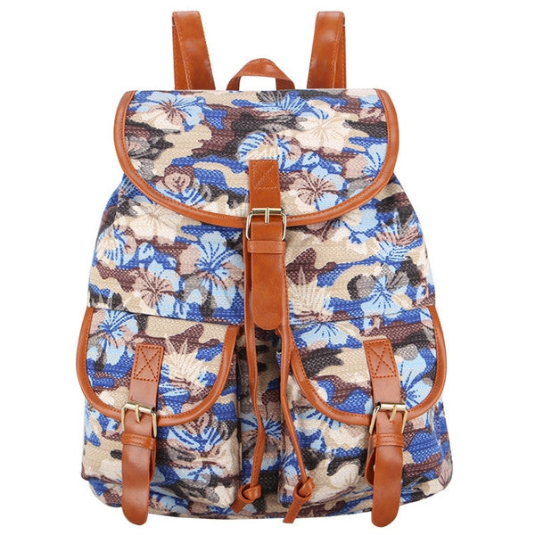 Z-Wild Flowers Canvas Backpack Blue-SOLD-SOLD-Daring Diva Australia