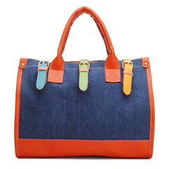 Two Tone Canvas Tote Bag Blue-SOLD-SOLD-Daring Diva Australia