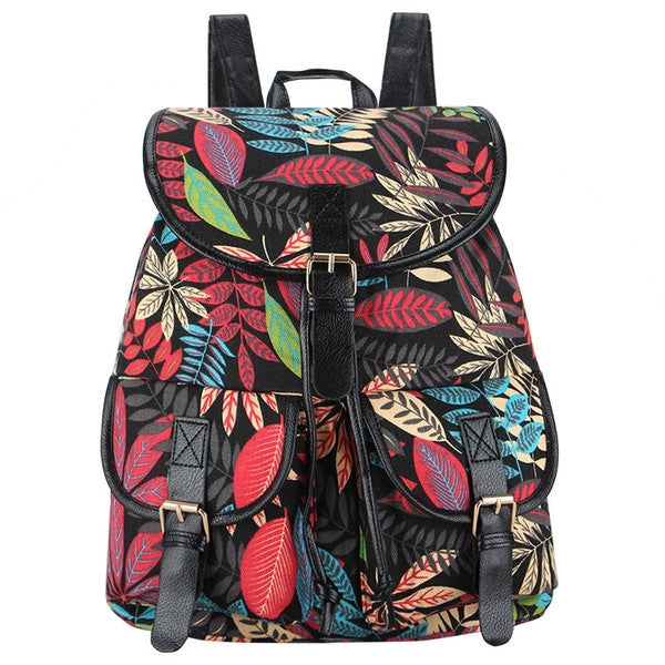 Autumn Rush Canvas Backpack Black-SOLD-SOLD-Daring Diva Australia
