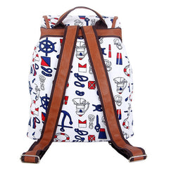 Canvas Weave Print Backpack White Boat-SOLD-SOLD-Daring Diva Australia