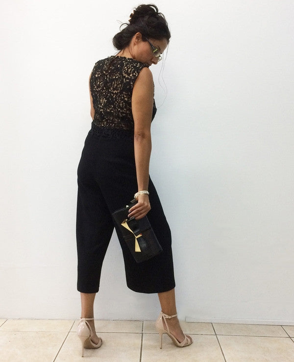 Lace Layered Cullotte Jumpsuit-Clearance-FCW-6-Daring Diva Australia