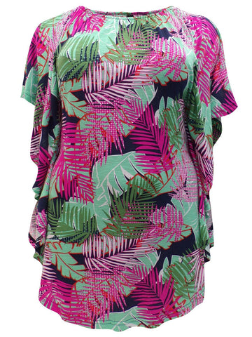 Janey Palm Print Tunic Top-Tops-FCW-Daring Diva Australia