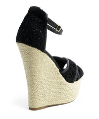 GLADYS BLACK LADY WEDGES-Shoes-WFS Shoes-Daring Diva Australia