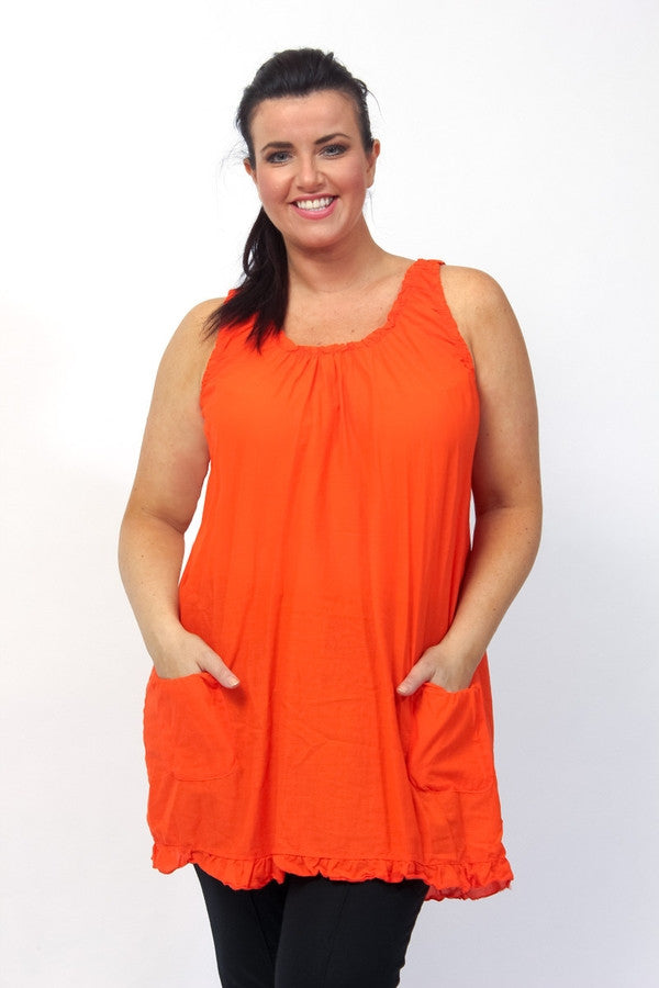 Z-Sleeveless Frill Hem Dress Orange-SOLD-SOLD-Daring Diva Australia