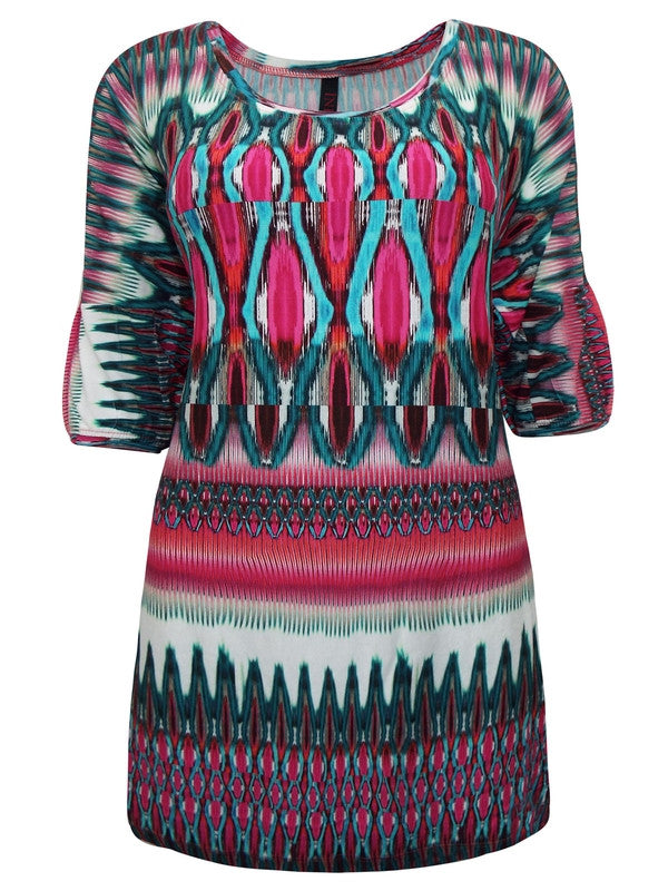 Z-Half Sleeve Printed Jersey Tunic-SOLD-SOLD-Daring Diva Australia