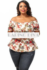 Z-Off Shoulder Floral Flair Top Cream-SOLD-SOLD-Daring Diva Australia