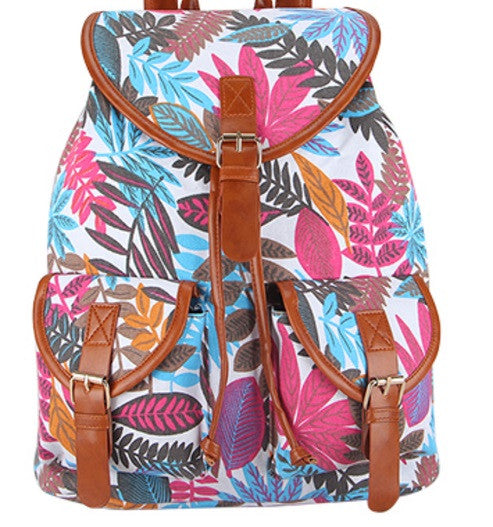 Z-Canvas Weave Print Backpack Autumn Leaves-SOLD-SOLD-Daring Diva Australia