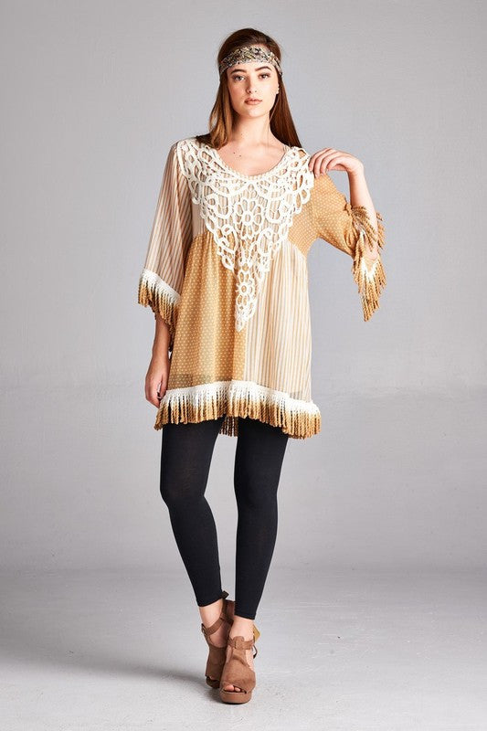 Z-Sheer Embroidered Tunic Top-SOLD-SOLD-Daring Diva Australia