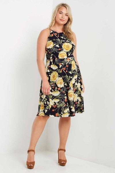 Emily Rose Floral Flare Dress-Dresses-MT-14-Daring Diva Australia