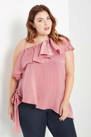 PRE-ORDER Olivia One Shoulder Ruffle Top-Tops-Daring Diva Australia-14/16-Pink-Daring Diva Australia