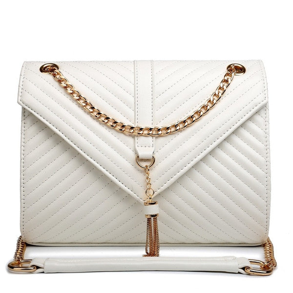 Z-QUILTED CHAIN SHOULDER BAG IVORY-SOLD-SOLD-Daring Diva Australia