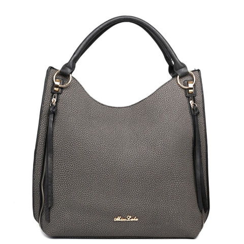 TEXTURED HOBO SHOULDER BAG BLACK-Handbags-ML-Daring Diva Australia