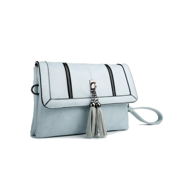 Z-TASSEL FRONT EVENING BAG BLUE-SOLD-SOLD-Daring Diva Australia