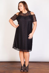Aztec Lace Cold Shoulder Dress-Dresses-LL-Daring Diva Australia