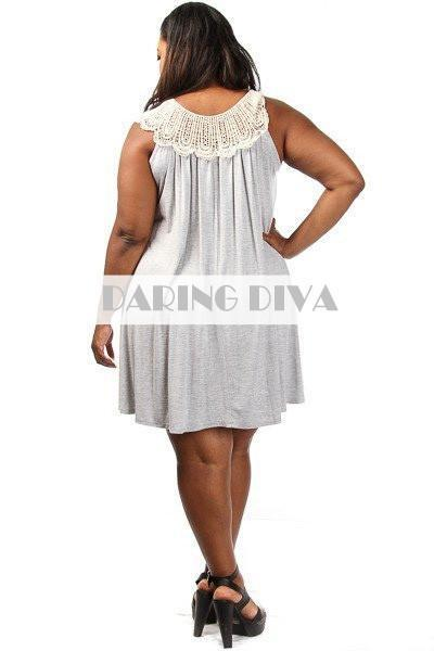 Crochet Trim Tunic Dress-SOLD-SOLD-14/16-Daring Diva Australia