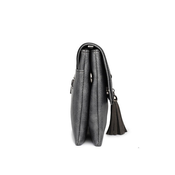 Z-TASSEL FRONT EVENING BAG CHARCOAL-SOLD-SOLD-Daring Diva Australia