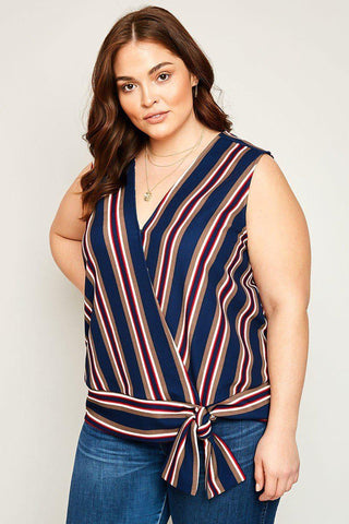 Paizlee Striped Top-Tops-HLA-Daring Diva Australia