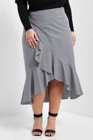 Meghan Checkered Ruffle Skirt-Bottoms-MT-Daring Diva Australia