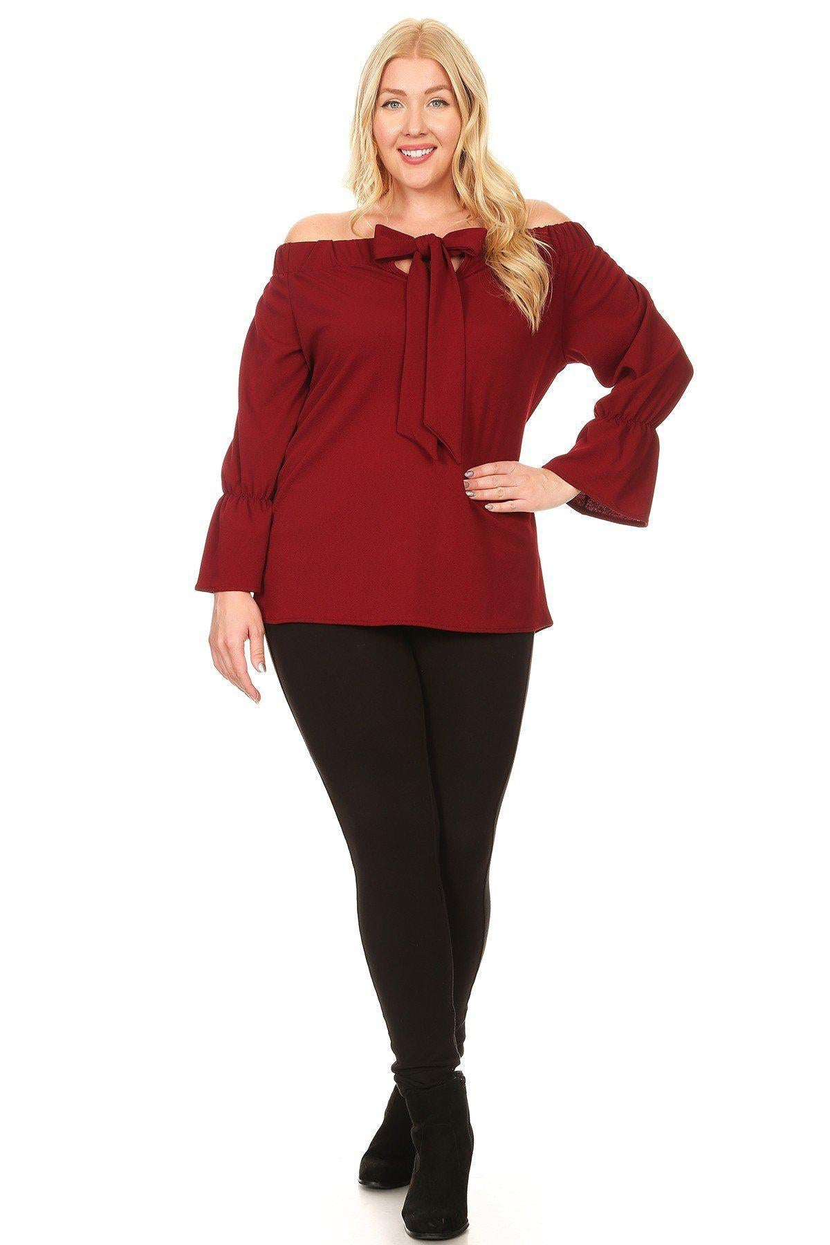 Cristina Off Shoulder Bow Top-Tops-BN-Daring Diva Australia