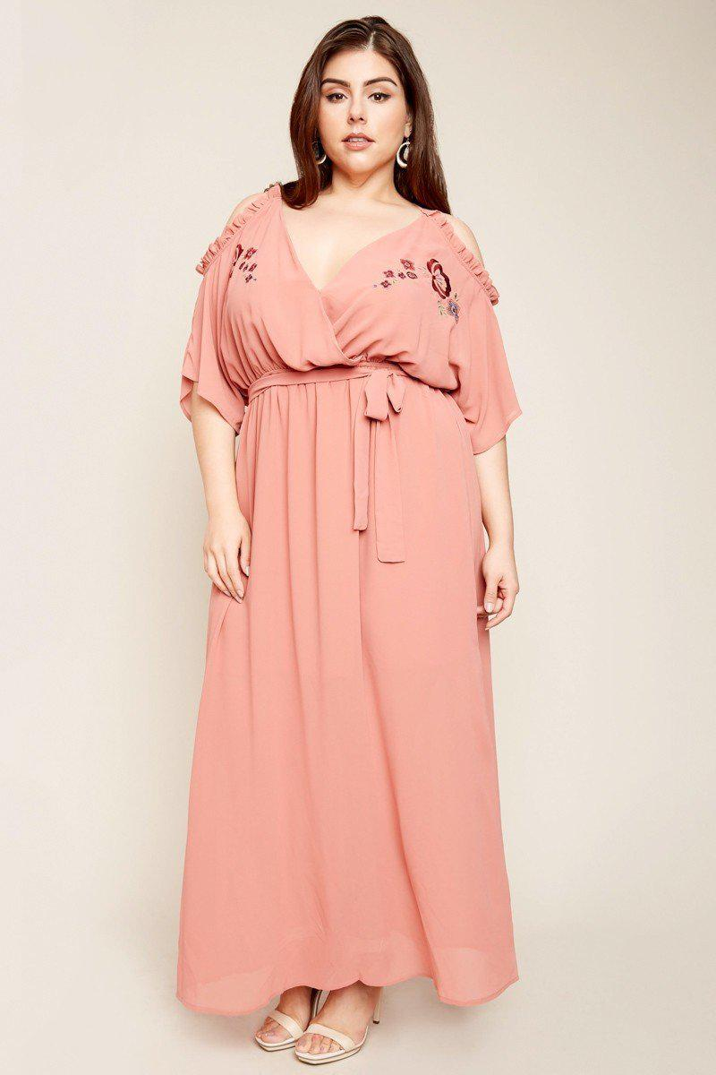 Isobel Cold Shoulder Maxi Dress-Dresses-HLA-Daring Diva Australia