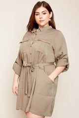 Sabine Shirt Dress Olive-Dresses-HLA-Daring Diva Australia