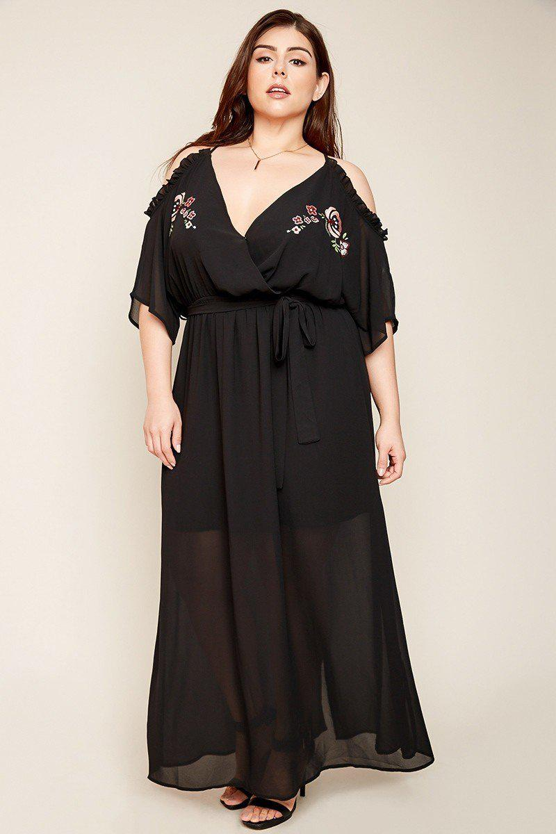 Isobel Cold Shoulder Maxi Dress black-Dresses-HLA-Daring Diva Australia