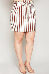 Jemima Striped Mini Skirt-Bottoms-HLA-Daring Diva Australia