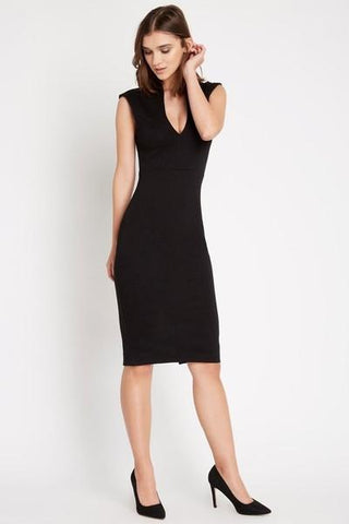 Larissa Deep V Bodycon Dress Black-Dresses-Daring Diva Australia-8-Black-Daring Diva Australia
