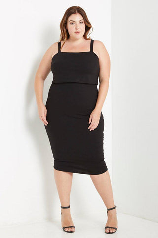 Penelope Overlay Bodycon Dress Black-Dresses-MT-Daring Diva Australia