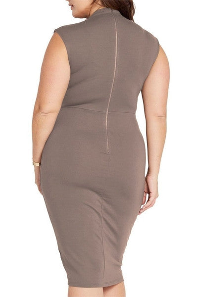 Z-Larissa Deep V Bodycon Dress Mocha-SOLD-SOLD-Daring Diva Australia